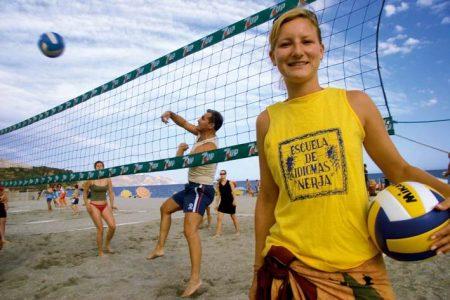 "Sport activiyt on the beach at the ""Escuela de Idiomas Nerja"""